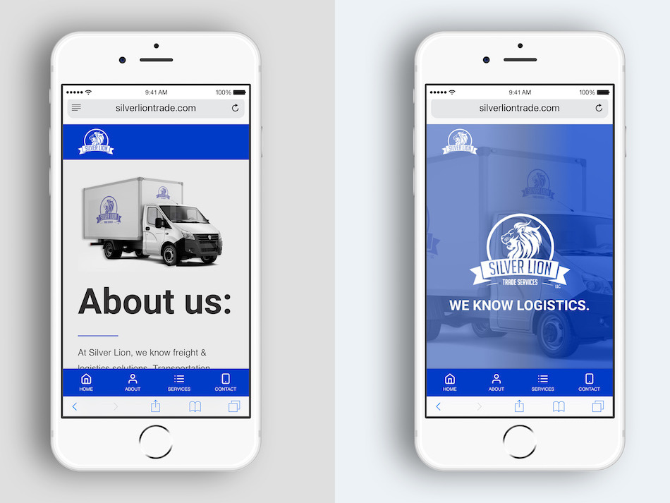 silver lion website design mobile